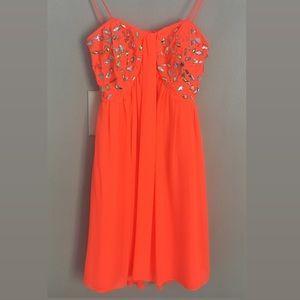 Morgan & Co Neon Orange Dress Size 1/2